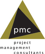 a green and black triangle with the letters p m c in white in the middle