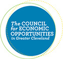 blue circle with white words Council for Economic Opportunities centered
