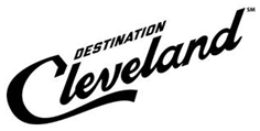 black words in a slant that reads Destination Cleveland