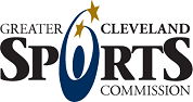 blue graphic of person with gold stars with Greater Cleveland Sports Commission in black