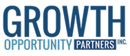big blue word Growth with smaller words Opportunity Partners below it