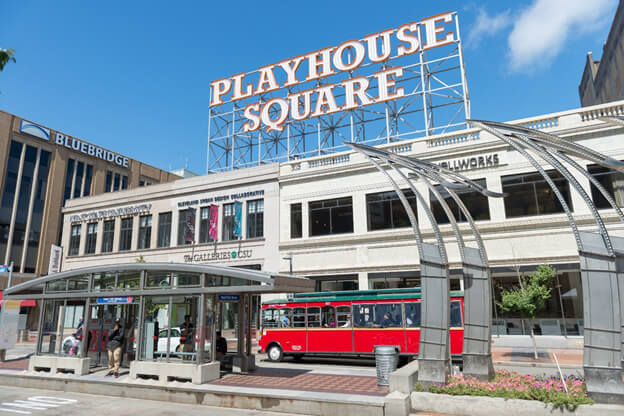 big sign that reads Playhouse Square