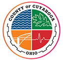 four quadrants of different colors with words Cuyahoga County Ohio around out