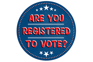 blue button that says Are You Registered to Vote?
